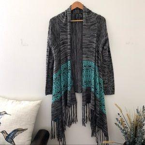 Full Tilt grey teal sweater fringe bottom M